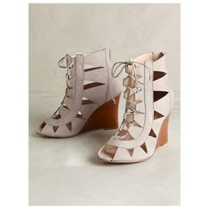 ANTHROPOLOGIE leather lace up wedge sandals